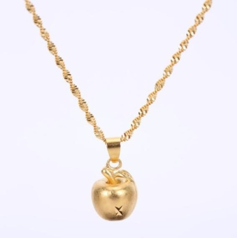 Women's Long Time No Fade 24K Gold Plated Small Copper Apple WaterWave Chain Necklace - intl