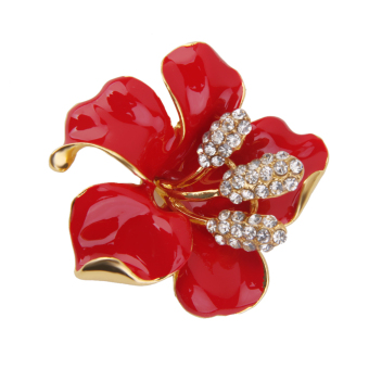 Women's Red Flower Brooch Pin Scarf Clip Jewelry - picture 2