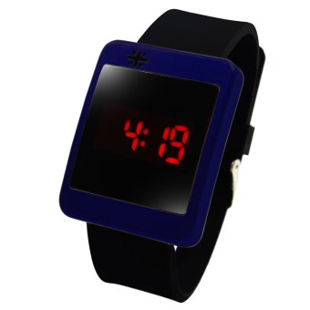 WOW Crux Square Touch LED Unisex Silicon Strap Watch (Navy Blue)