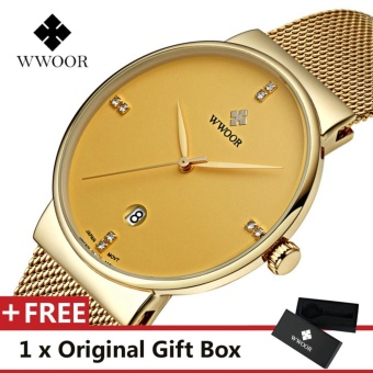 WWOOR Top Brand Luxury Men's Watch Waterproof Date Clock MaleSports Watches Men Quartz Casual Wrist Watch Gold - intl