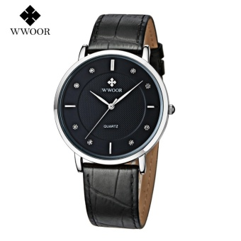 WWOOR Top Luxury Brand Watch Famous Fashion Sports Cool Men QuartzWatches Waterproof Leather Wristwatch For Male Black - intl - 2