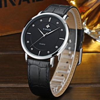 WWOOR Top Luxury Brand Watch Famous Fashion Sports Cool Men QuartzWatches Waterproof Leather Wristwatch For Male Black - intl - 4