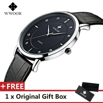 WWOOR Top Luxury Brand Watch Famous Fashion Sports Cool Men QuartzWatches Waterproof Leather Wristwatch For Male Black - intl