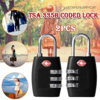 XCSOURCE 2pcs TSA 3 Digit Travel Code Plastic Lock (Black) HS259