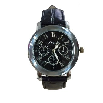Xinslon 1111 Leather Watch with Sub-dial Design (Black) #0127