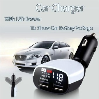 YAER Universal LED Voltmeter Dual USB Car Charger Adapter 12V 3.4A Voltage Current Meter Monitor USB Charger For Car Ipnone/Samsung - intl