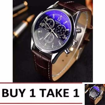 YAZOLE 271 Fashion Business Men PU Leather Band Wristwatch (Black/Brown)Buy1 Take1