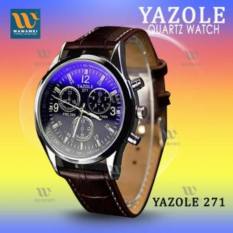 YAZOLE 271 Fashion Business Men PU Leather Band Wristwatch(Black/Brown) Price Philippines
