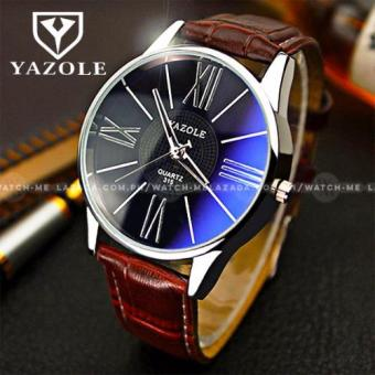 Yazole Classic Roman Numeral Brown Leather Strap Watch (Black Face)