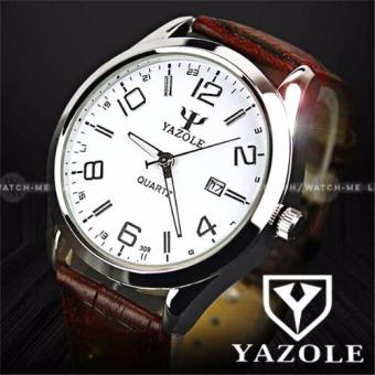 Yazole Men's Big Digits Daykeeper Brown Leather Strap Watch