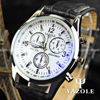 Yazole Men's Blue Ray Glass Chronograph Style Black Leather Strap Watch Price Philippines