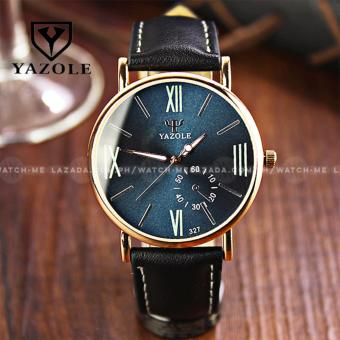 Yazole Men's Classic Deluxe Black Leather Strap Watch