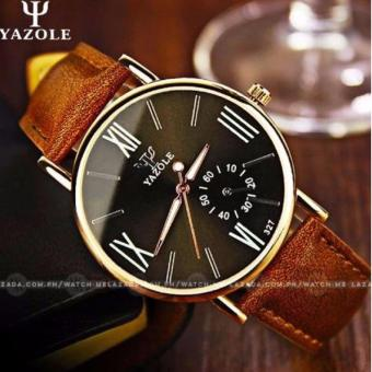 Yazole Men's Classic Deluxe Brown Leather Strap Watch-327(Black)