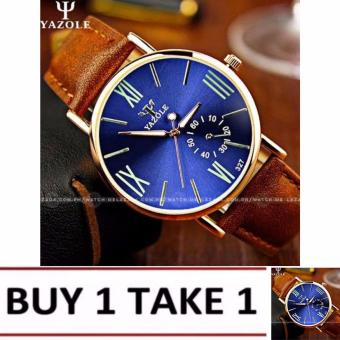 Yazole Men's Classic Deluxe Brown Leather Strap Watch-327(Blue)Buy1 Take1
