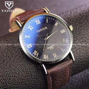 Yazole Men's Classic Minimalist Brown Leather Strap Watch
