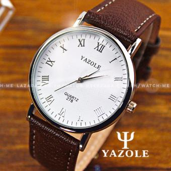 Yazole Men's Classic Minimalist Brown Leather Strap Watch (White)