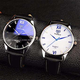 Yazole Men's Classic Rhinestone Black Leather Strap Watch (Black Face) - 4