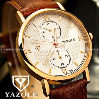 Yazole Men's Deluxe Ridge Tiled Brown Leather Strap Watch (White Face)