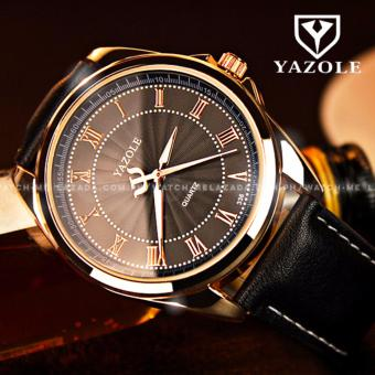 Yazole Men's Golden Roman Numeral Black Leather Strap Watch
