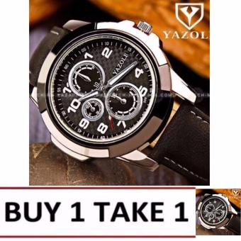 Yazole Men's Luminous Swiss Design Black Leather Strap Watch (Black Face) Buy1 Take1