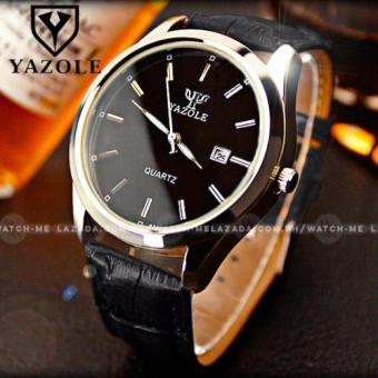 Yazole Men's Luminous Classic Daykeeper Black Leather Strap Watch(Black Face) Price Philippines