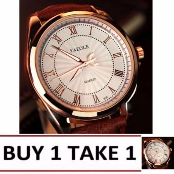 YAZOLE Roman scale business watch men's quartz watch 336 (White/Brown)Buy1 Take1