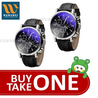 Yazole Watch #271 A-257 Fashionable For All Ocassion Watch UnisexWatch Leather Strap BUY 1 TAKE 1 (Black) #29805