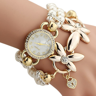 YBC Women Fashion Watch With Quartz Flower Imitation Pearl Chain Bracelet Beige