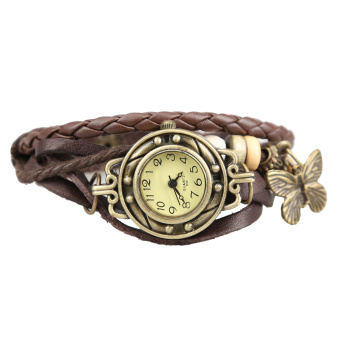 YBC Women Retro Bracelet Wrist Watch With Weave Wrap Leather Brown