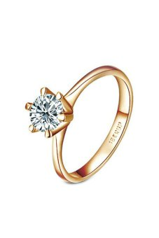 yoursfs Unique Solitaire Cubic Zirconia CZ Engagement Ring Gold -Intl