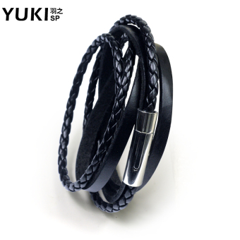 Yuki leather men's titanium steel bracelet
