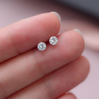 Z s925 fresh small white crystal sterling silver stud