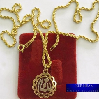 ZERHEA's Rope chain Necklace w/ Saudi Emblem Cute Pendant 18k