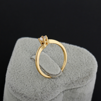 Zircon Engageent Finger Ring 18K God Pated - 4