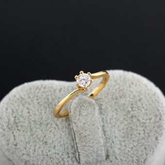 Zircon Engageent Finger Ring 18K God Pated - 3
