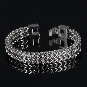 ZUNCLE Men's Personalized Square Scales Titanium Steel Bracelet(Silver)