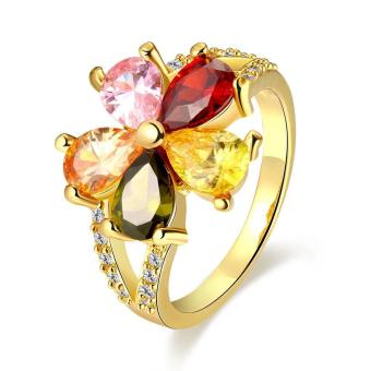 ZUNCLE Nickle Antiallergic Fashion Jewelry White Plated zircon Ring(Gold)