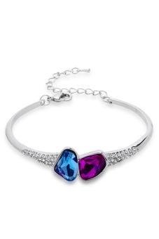 ZUNCLE Simple Crystal Diamond Leaf Bracelet (Blue)