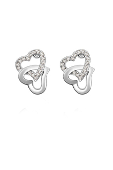 ZUNCLE To Tie Knot Heart to Heart Diamond Earrings (White)